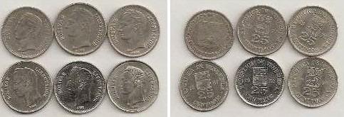 venezuela - lote de 6 mediecitos años 1965-77-78-87-89-90