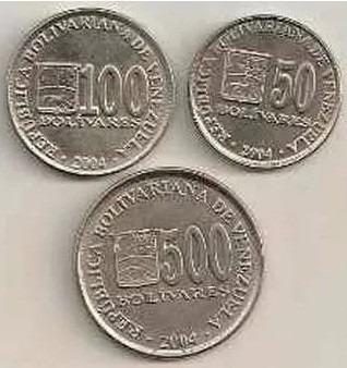 venezuela - lote de monedas 50 - 100 y 500 bolivares 2004