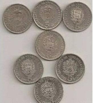venezuela - seis monedas de bs 5 (1973-77-87-89-90)