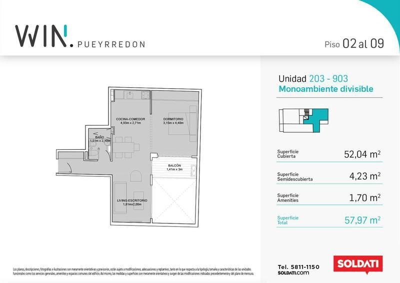 venta 1 dormitorio - barrio norte - win pueyrredon