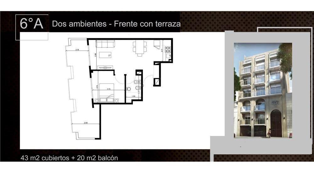 venta 2 ambientes a estrenar con balcón terraza