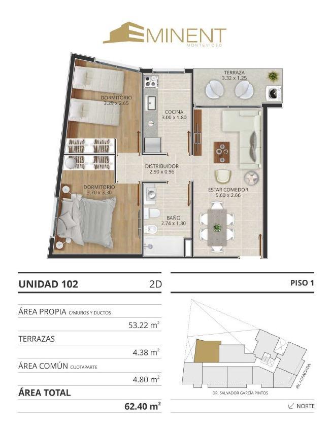 venta apartamento 2 dormitorios bella vista