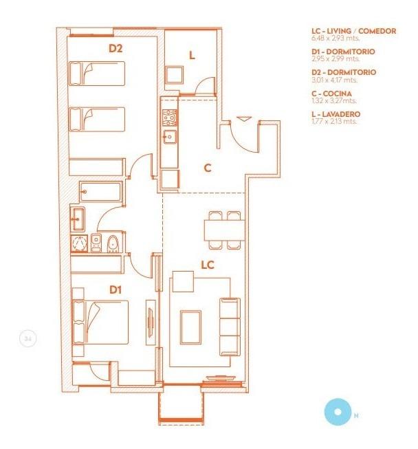 venta apartamento 2 dormitorios centro carlos ott