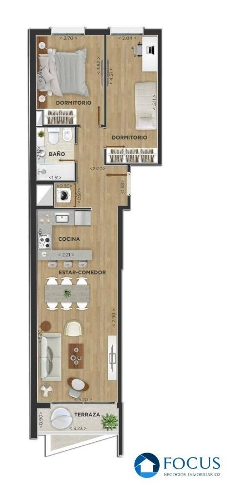 venta apartamento 2 dormitorios con terraza. centro