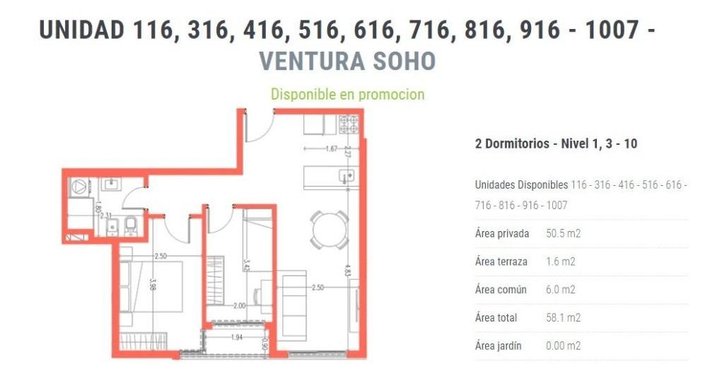 venta apartamento 2 dormitorios cordon ventura soho
