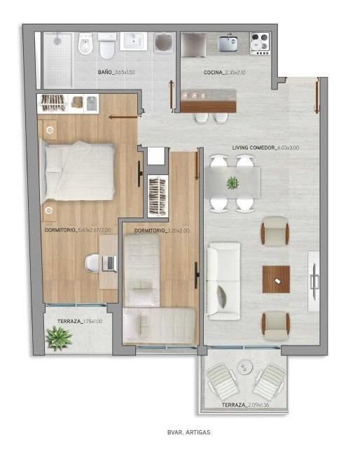 venta apartamento 2 dormitorios tres cruces estrena