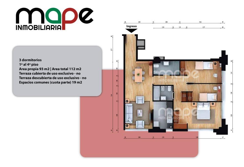 venta apartamento 3 dormitorios 93 m2 aguada