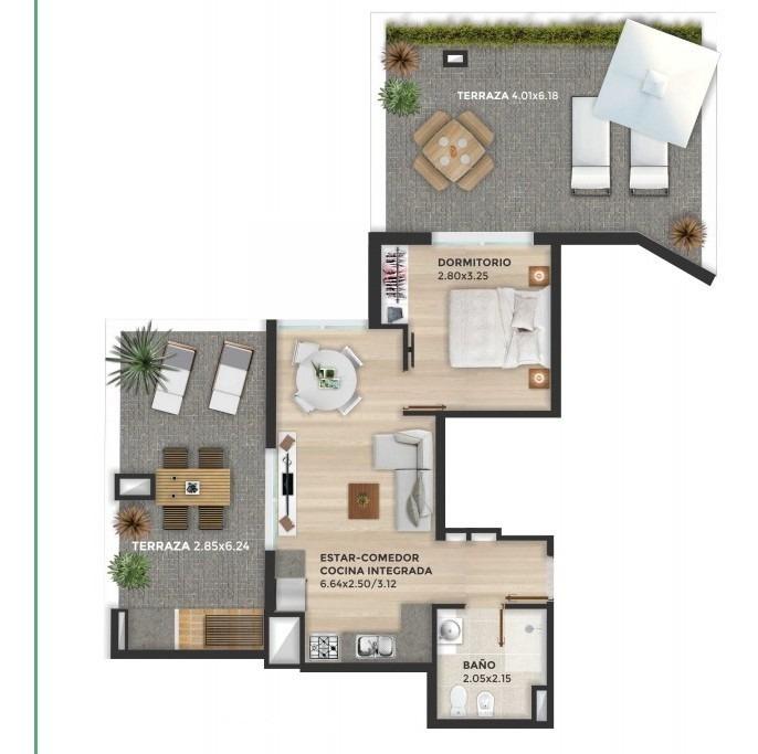 venta apartamento de 1 dormitorio en tres cruces