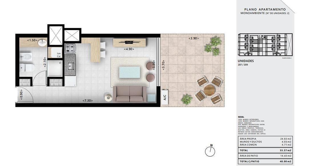 venta apartamento monoambiente pocitos montevideo