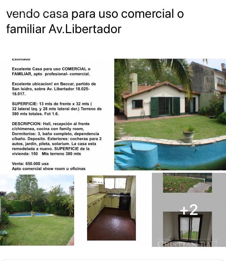 venta casa o comercial- beccar-libert./rio