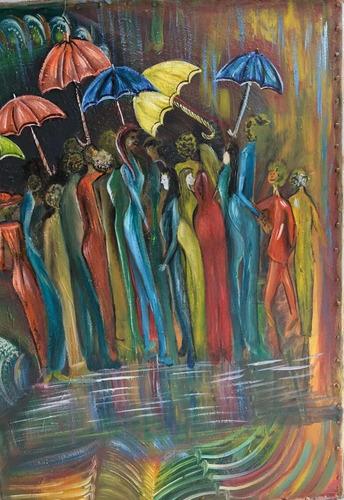 venta cuadro las damas bajo la lluvia