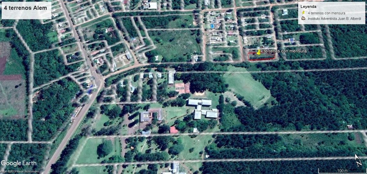 venta de 4 terrenos alem. zona adventista. con titulo