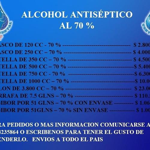 venta de alcohol anticeptico al 70 % a los mejores precios.