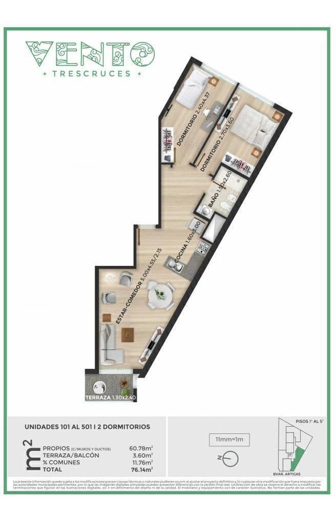 venta de apartamento de 2 dormitorios más terraza