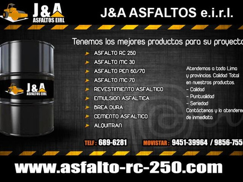 venta de asfalto rc-250 ,emulsiones asfalticas ,breas- peru.
