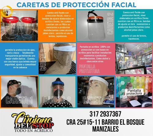 venta de caretas anti fluido y proteccion en acrilico