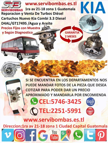 venta de cartucho de turbo kia bongo 3 truck 2.9 j3 tf035