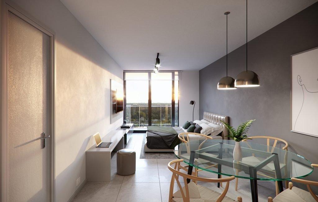 venta de departamento al pozo de 1 dormitorio  con balcon al frente. financiado.