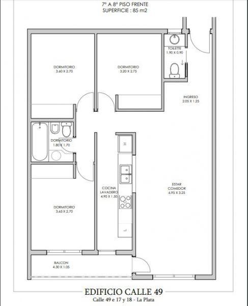 venta de departamento de 3 dormitorio en la plata.