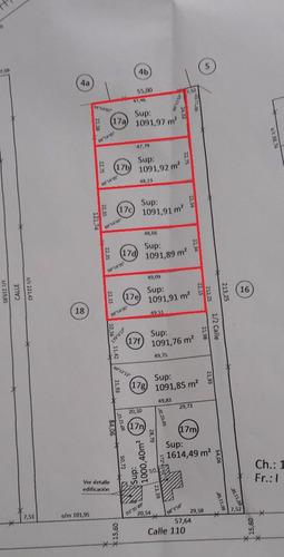 venta de lote de 1090 m2, calle 49 y 110. consulte financiación.