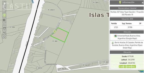 venta de lote sobre arroyo la glorieta - zona delta tigre