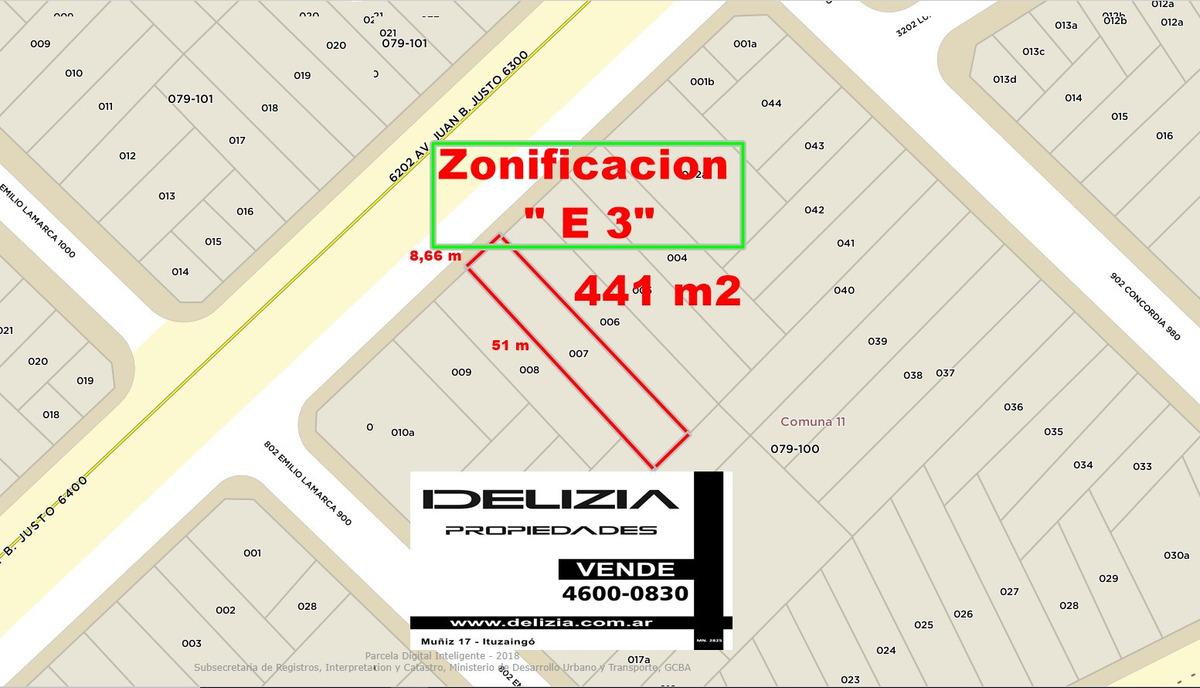 venta de lote sobre avenida zonificacion e3