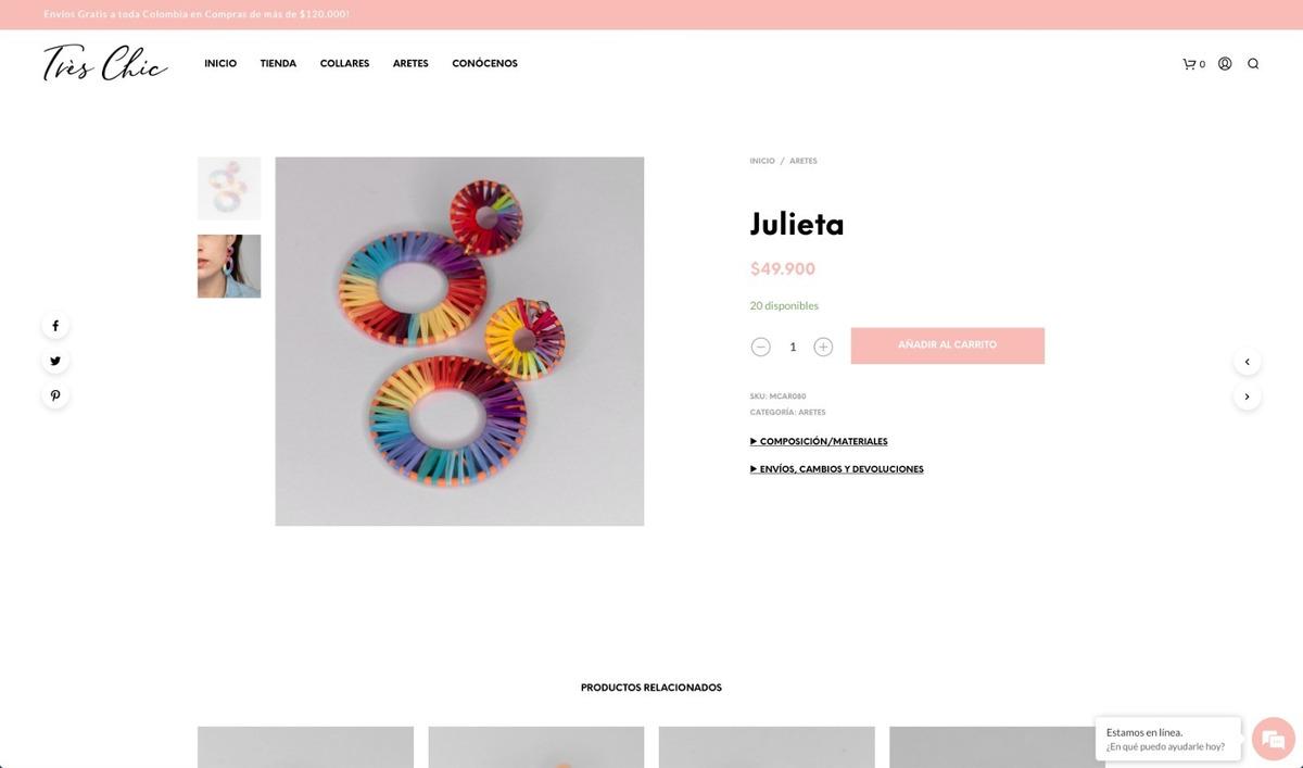 venta de marca de accesorios para mujer con productos y web