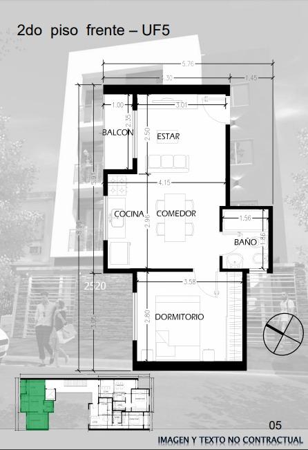 venta de pozo 2 amb al frente con balcón, cochera y ascensor