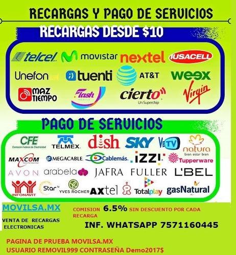 venta de recargas electrónicas y pagos de servicos