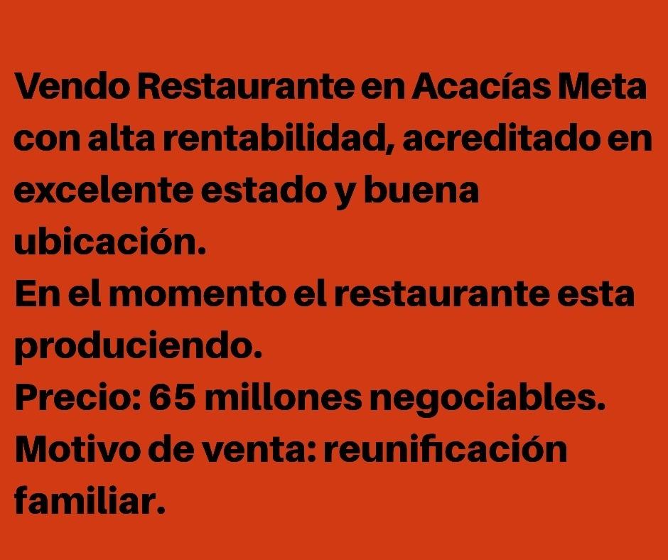 venta de restaurante en acacias meta