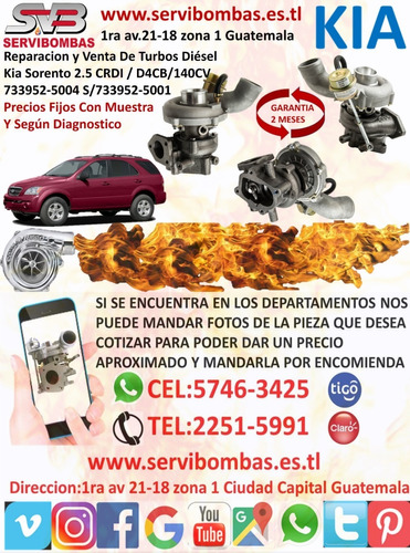 venta de turbos kia bongo k- serie pregio 2.5l d4bh,4d56 gua