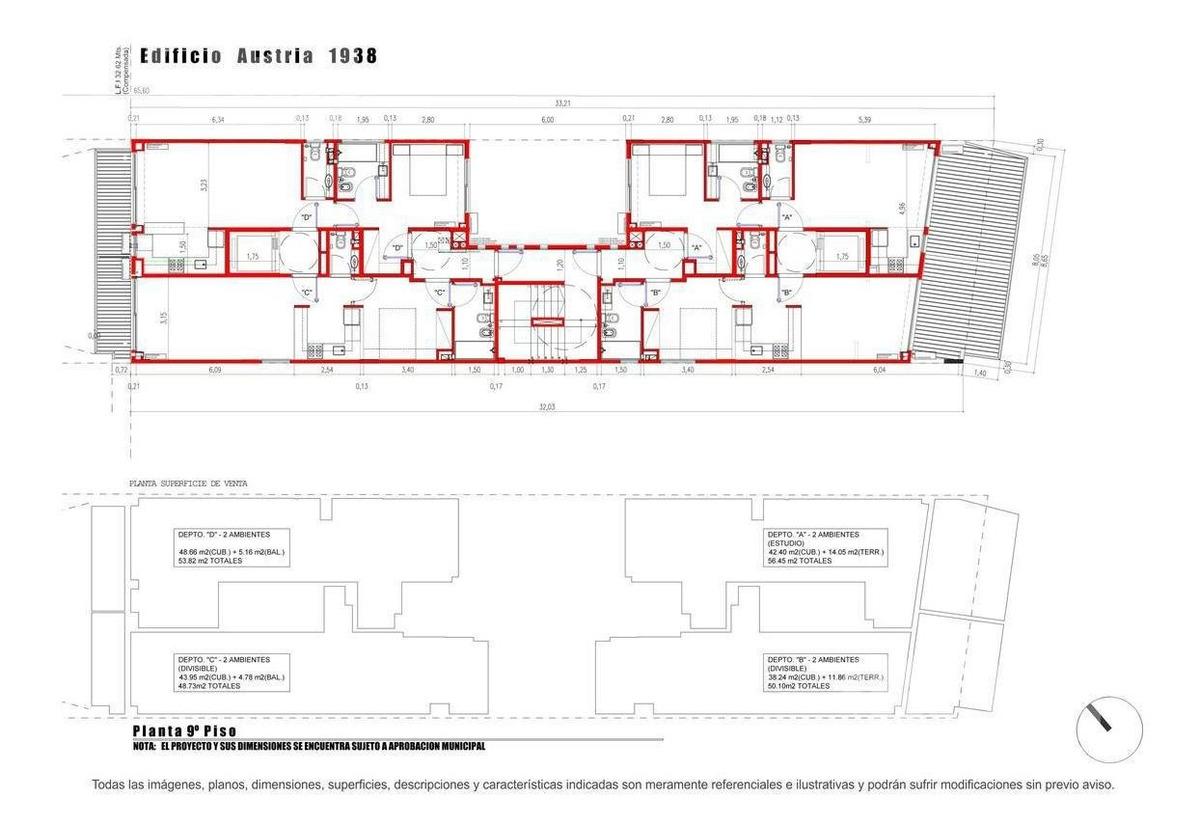 venta departamento 1 ambiente divisible en barrio norte - en construccion