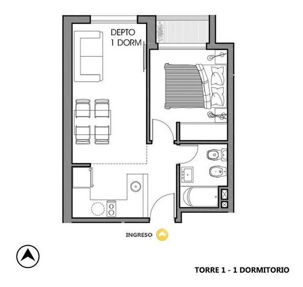 venta departamento 1 dormitorio - rosario, centro.