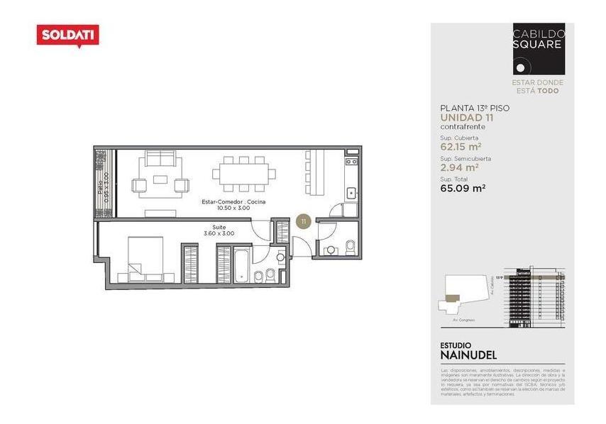 venta departamento 2 ambientes - belgrano