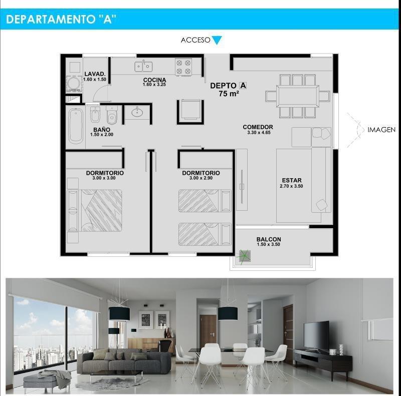 venta departamento 2 dormitorios. 57 e/ 6 y 7