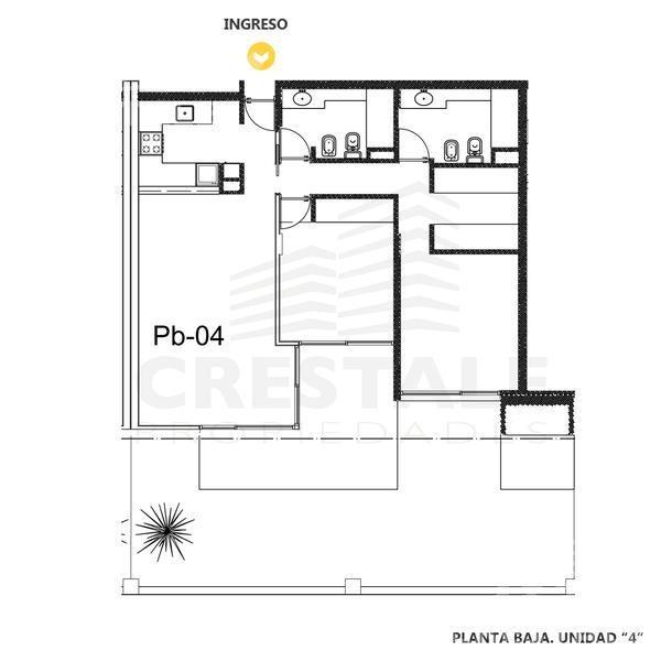 venta departamento 2 dormitorios  con jardin - funes