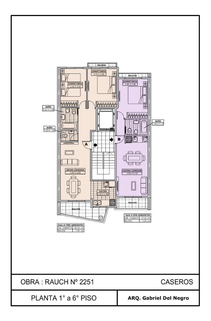 venta departamento 3 amb semi piso en pozo, caseros, anticipo y cuotas