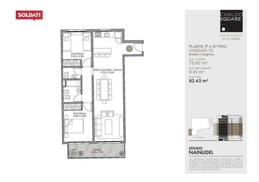 venta departamento 3 ambientes - belgrano