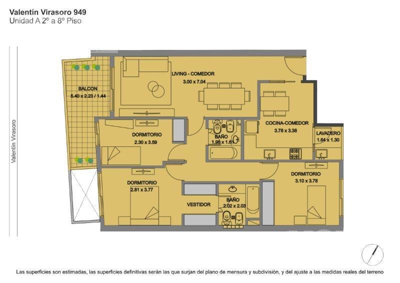 venta departamento 4 ambientes con balcon aterrazado en caballito - en construccion