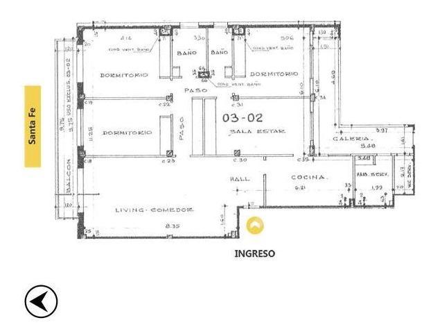venta departamento - 4 dormitorios, 3 baños, santa fe 1200, rosario centro