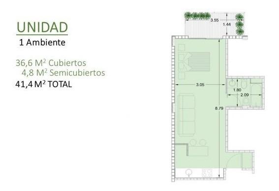 venta departamento 41m2, exc. ubicación. villa urquiza.