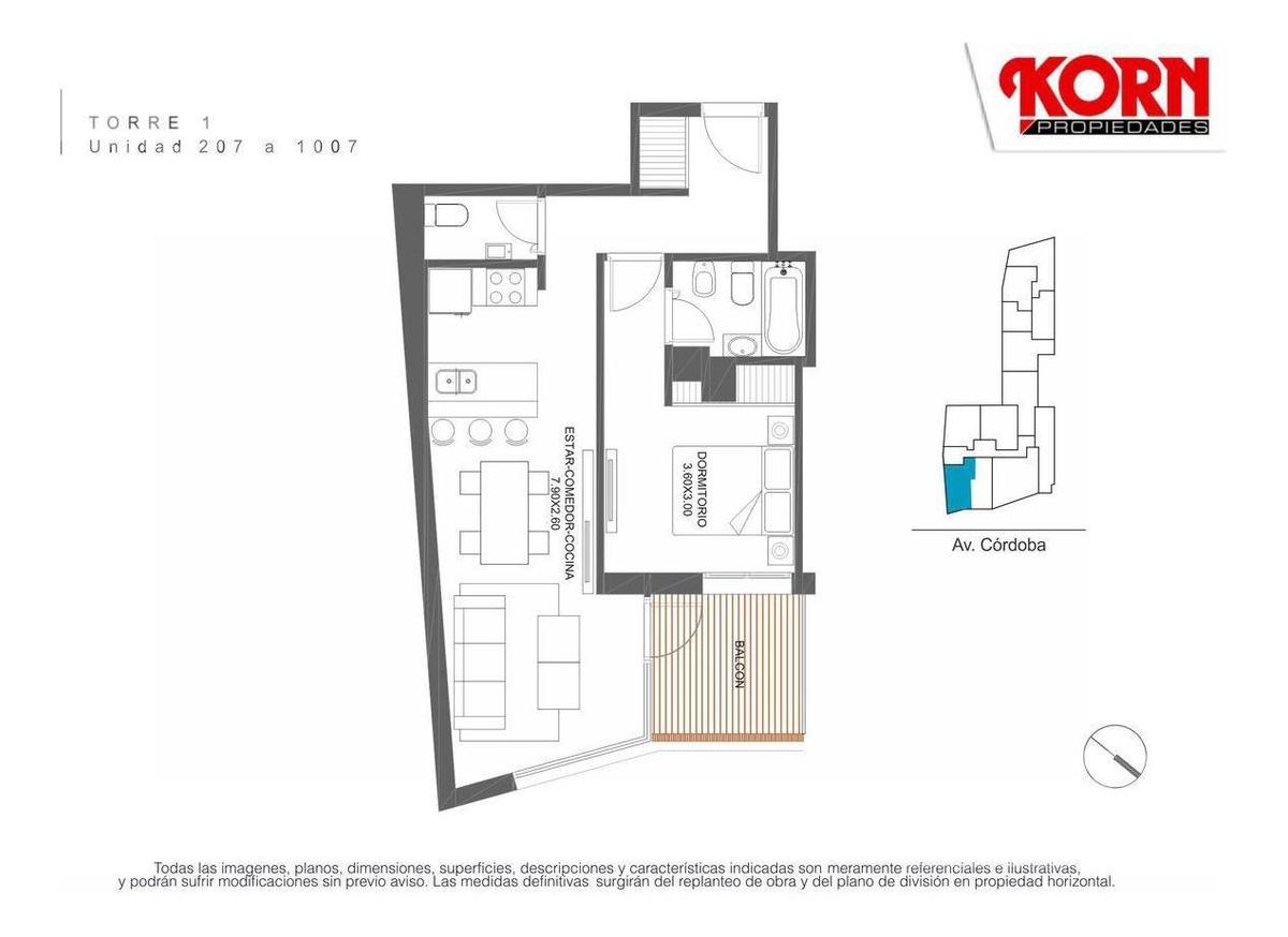 venta departamento apto profesional de 2 ambientes en palermo - en construccion