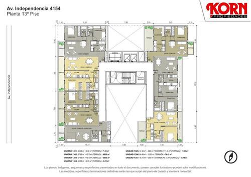 venta departamento de 1 ambiente con balcon terraza y patio en boedo - en construccion