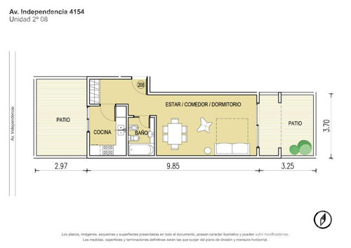 venta departamento de 1 ambiente con dos patios en boedo - en construccion