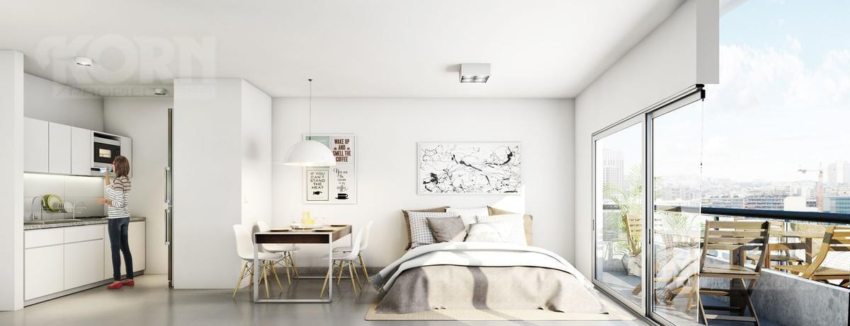 venta departamento de 1 ambiente divisible con balcon - en construccion