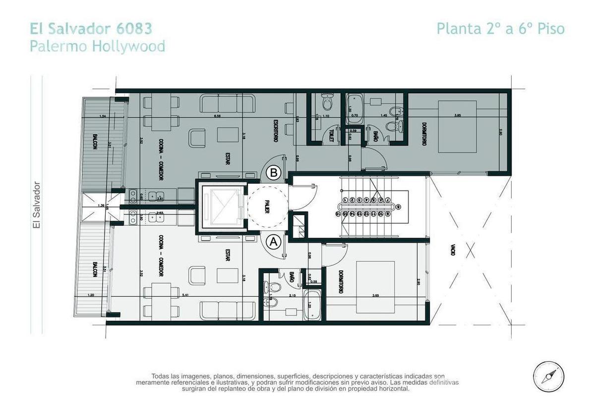 venta departamento de 2 ambientes en palermo hollywood - en construccion