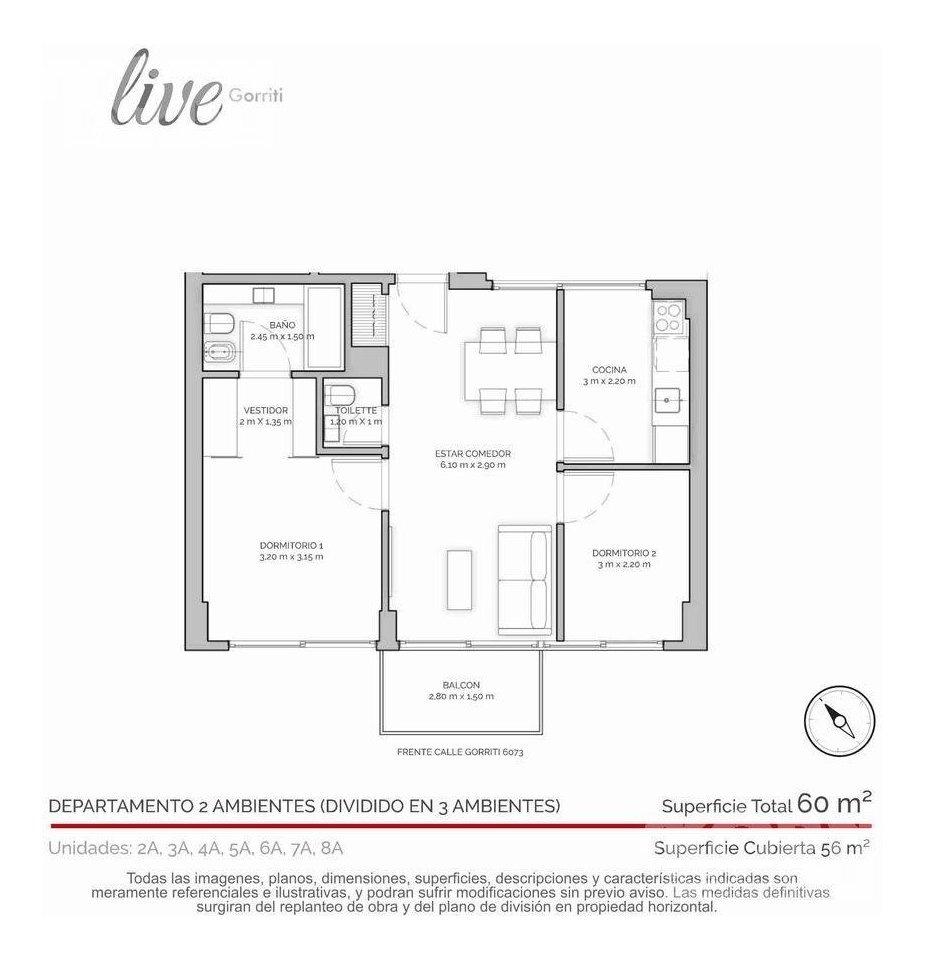 venta departamento de 3 ambientes con balcon terraza en palermo hollywood