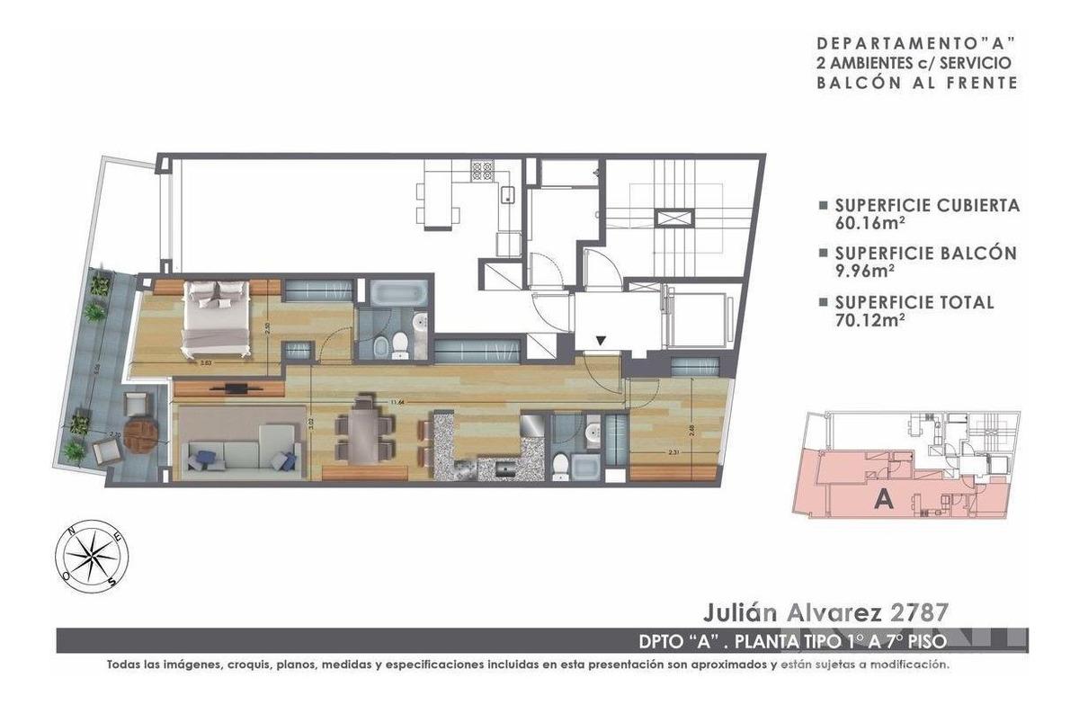 venta departamento / piso de 3 ambientes con dependencia en palermo - lanzamiento