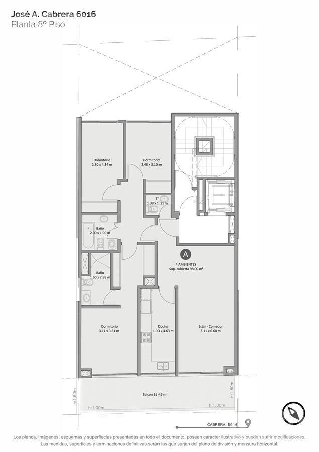 venta departamento semipiso de 1 ambiente divisible con patio en palermo hollywood