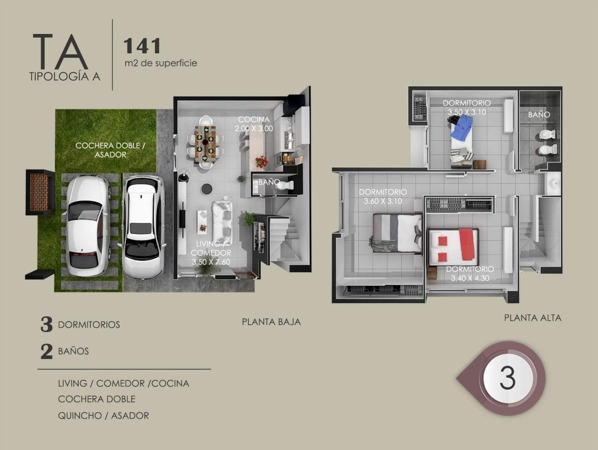venta dúplex 3 dorm en housing la cuesta plaza - cuesta colorada zona norte
